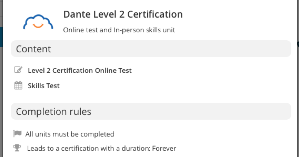 Level 2 has an online course and an in-person skills test.